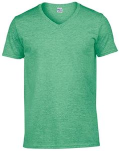 Afbeelding van Softstyle Mens V-Neck T-shirt Gildan Heather Irish Green