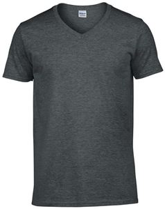 Afbeelding van Softstyle Mens V-Neck T-shirt Gildan Dark Heather