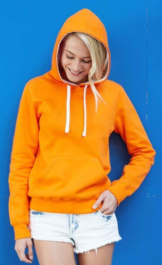 Oranje Trui Dames.Oranje Dames Sweater Met Contrasterende Capuchon Bestel Je