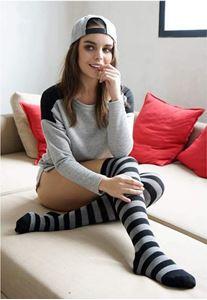 Urban Classics Ladies Striped Socks Black Charcoal