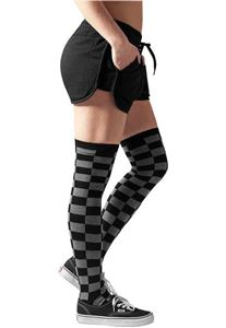 Ladies Checkerboard Overknee Socks Black Charcoal