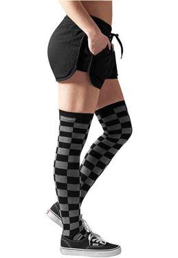 Ladies Checkerboard Overknee Socks Black Charcoal