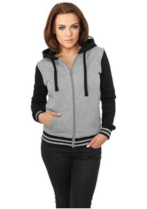 Ladies 2-Tone College Zip Hoody