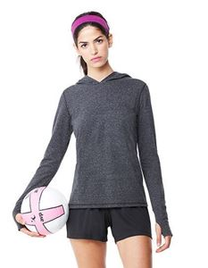 Womens Performance Triblend Long Sleeve Hooded Pullover With Runners Thumb