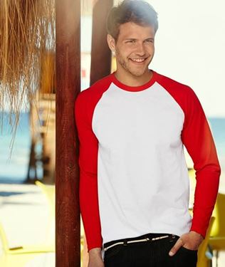 Picture of Long sleeve Baseball Tee Wit - Rood maat M