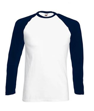 Picture of Long sleeve Baseball Tee Navy - Wit maat S
