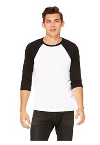 Afbeelding van 3/4 mouw Baseball T-shirt Wit - Zwart maat L