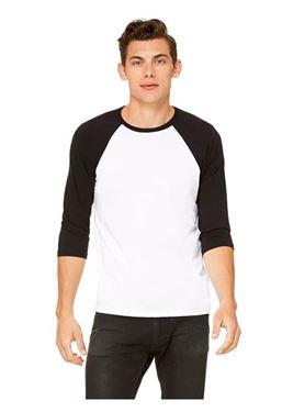 Picture of 3/4 mouw Baseball T-shirt Wit - Zwart maat L