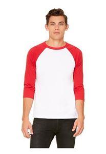 Afbeelding van 3/4 mouw Baseball T-shirt Wit - Rood maat L