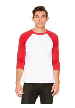 Picture of 3/4 mouw Baseball T-shirt Wit - Rood maat L
