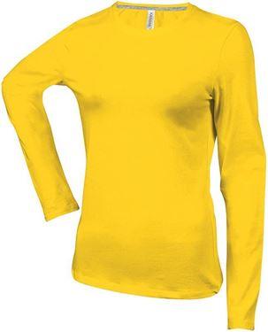 Picture of Dames T-shirt lange mouw met ronde hals Geel maat 3XL