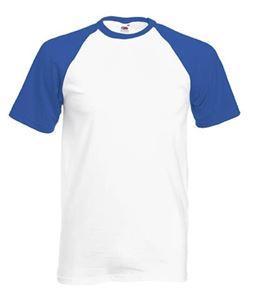 Afbeelding van Baseball T  White / Royal Blue maat S