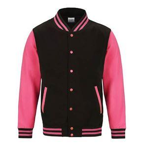 Afbeelding van Electric Varsity Jacket Jet Black - Fluoriserend Pink maat L