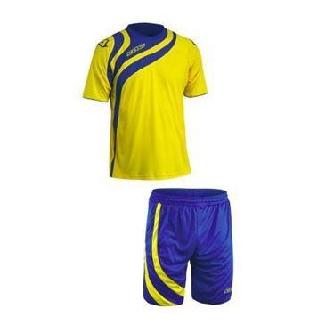 Team Set Alkman Korte Mouw Geel Royal Blauw