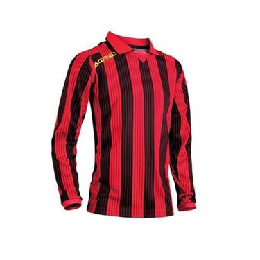 Team Shirt Vertical Lange Mouw Rood Zwart