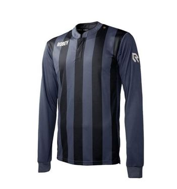 Robey Winner Voetbalshirt Lange Mouw Zwart Gestreept