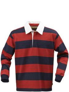Afbeelding van Lakeport Rugby shirt Rood-Blauw maat L