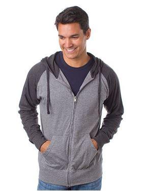 Mens Lightweight Jersey Raglan Zip Hood