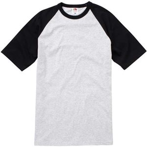 Afbeelding van Baseball T Fruit of the Loom Heather Grey / Black