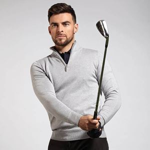 Glenmuir Devon Zip-Neck Cotton Golf Sweater