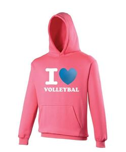 I Love Volleybal Sweater Fluor Pink