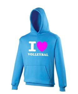 Blauwe  I Love Volleybal Hoodie