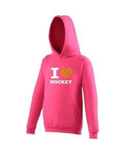 I Love Hockey Hoodie Fluor Pink Golden Stars