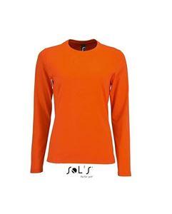 Oranje Dames T-Shirt Lange Mouw En Ronde Hals