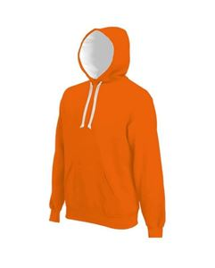 Contrast Hooded Sweatshirt Kariban Orange / White