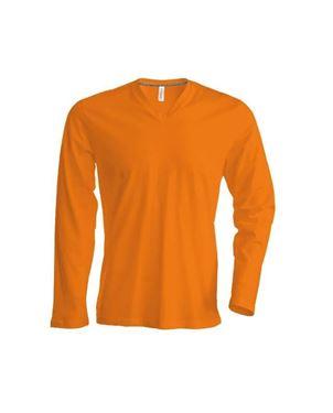Oranje Heren T-Shirt Lange Mouw V-Hals