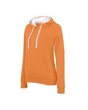 Oranje Dames Sweater Met Contrasterende Capuchon