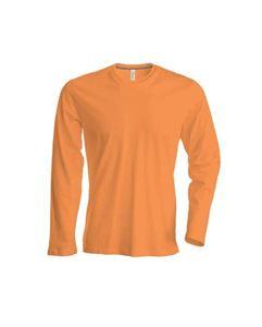 Oranje Heren T-Shirt Lange Mouw Ronde Hals