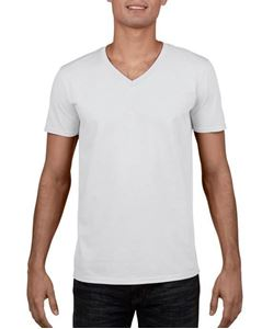 12 Witte Softstyle T- Shirts V-Hals
