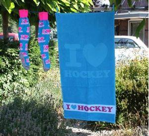 I Love Hockey Handdoek Turquoise