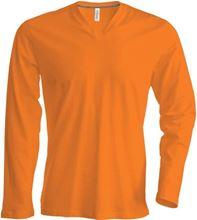 Oranje T-shirt V-hals lange mouw