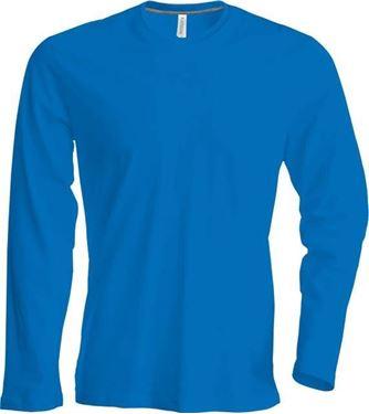 Heren T-Shirt Lange Mouw Met Ronde Hals Blauw