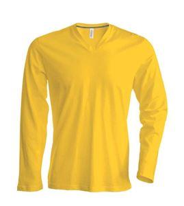 Heren T-Shirt Lange Mouw V-Hals Geel