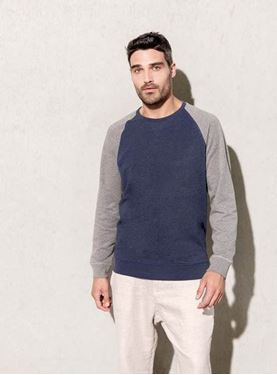 Tweekleurige Heren Sweater BIO Ronde Hals Raglanmouwen