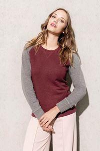 Kariban Tweekleurige Dames Sweater BIO Ronde Hals Raglan Mouwen