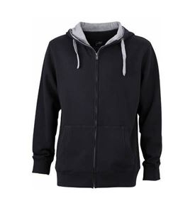 James & Nicholson Men´s Lifestyle Zip Hoody - Black / Grey Heather