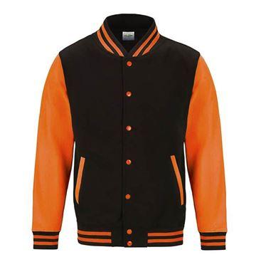 Picture of Electric Varsity Jacket Jet Black - Fluoriserend Orange L