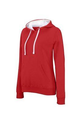 Kariban Dames Sweater Rood-Wit Maat XS
