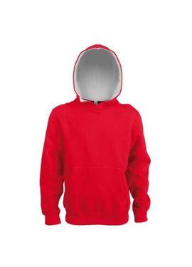 Kids Contrast Hooded Sweatshirt Kariban Rood / Wit Maat 152-158