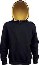 Kids Contrast Hooded Sweatshirt Kariban Black / Yellow