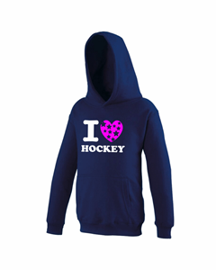 I love Hockey Star Hoodie Navy