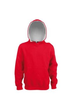 Kids Contrast Hooded Sweatshirt Kariban Red / White 12/14 jaar