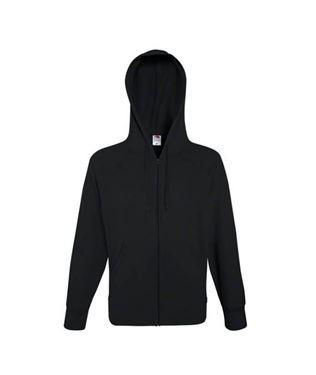Fruit Of The Loom Lightweight Hooded Sweat Jacket Black Maat L