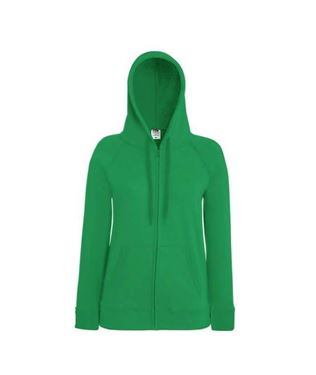 Fruit of the Loom Lady-fit Lightweight Hooded Sweatshirt Jacket Kelly Green maat S