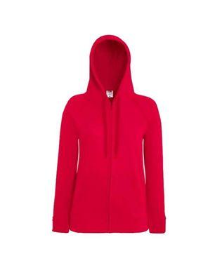 Fruit of the Loom Lady-fit Lightweight Hooded Sweatshirt Jacket Red maat L