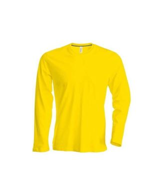 Heren T-shirt lange mouw met ronde hals Geel maat M